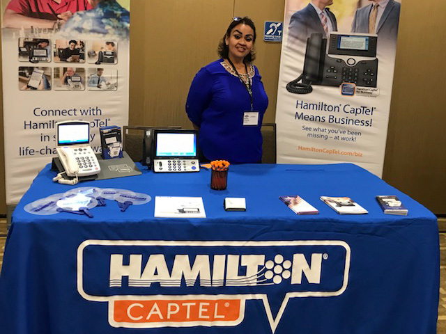 Hamilton CapTel at a tradeshow.